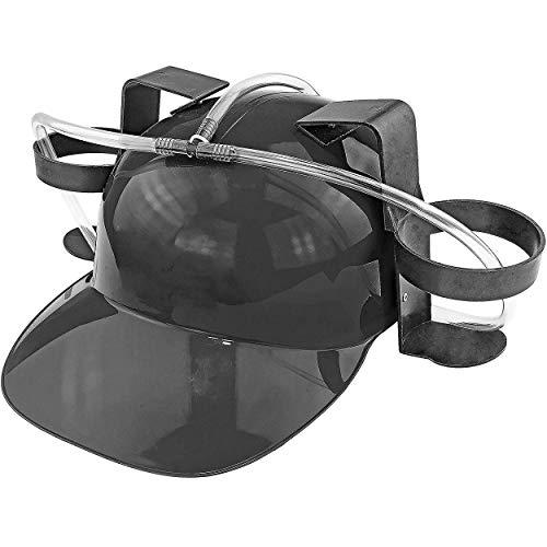 Fairly Odd Novelties Beer Soda Guzzler Helmet Drinking Party Hat, Black