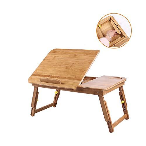 HAKN Rectángulo De Mesa Plegable De Bambú, Buena Estabilidad, Ajuste del Ángulo De La Mesa, Patas Telescópicas, Fácil De Transportar, Capacidad De Carga De 50 Kg, Naranja Mesa portatil