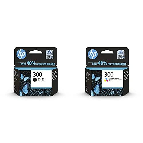 HP 300 CC640EE, Cartucho Original de Tinta Negro + 300 CC643EE,Cartucho de Tinta Original Tricolor, Compatible con impresoras de inyección de Tinta Tinta DeskJet D2560