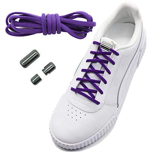 Run out sports Elastische Schnürsenkel mit Metallverschluss - schleifenlos - elastisch ohne binden - Schnellverschluss mit Metallkapsel (Lila)