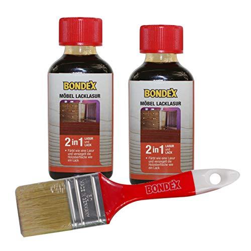Holzmöbel Lacklasur, Schützender Lack und farbige Lasur in einem auf Basis von Schellack und natürlichen Ölen für alle Hölzer im Wohn- und Innenbereich als Lackierset inkl Pinsel - mahagoni