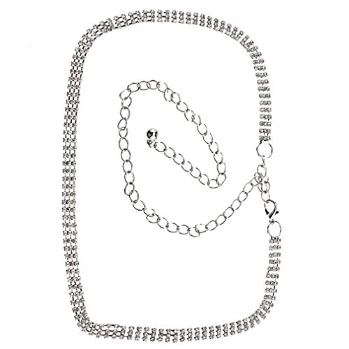1/3/5reihe Cinturón brillantes Diamante Mujer cadera cadena colgante cintura cinturón plata
