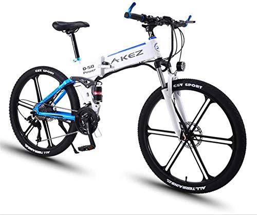 RDJM Bciclette Elettriche Elettrico Mountain Bike, 350W 26 '' Electric Ebikes Bicicletta con Rimovibile 36V 8AH agli ioni di Litio 27 Speed Gear e Sospensione Premium Full (Color : White)