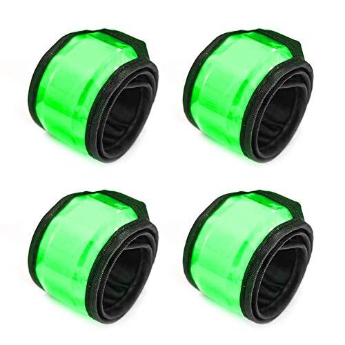 4 piezas de brazalete LED reflectante bandas deportivas LED pulsera de luz intermitente anillos reflectores accesorios para correr para hombres y mujeres (azul), verde, S