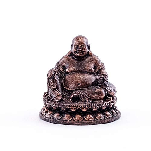 Top Collection Happy Buddha Meditation Statue- Pearls of Wisdom Big Belly Laughing Buddha Sculpture with Bronze Finish Look- Hand Painted 2-Inch Mini Collectible East Asian Praying Buddhist Figurine