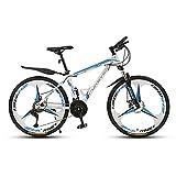 Bicicletas, Bicicleta De Montaña De Amortiguación Plegable 24 Pulgadas, 3 Ruedas De Cuchillo 21/24/27/30 Velocidad Ruedas De Velocidad De Doble Suspensión Bicicleta Ligera (Size:21 speed,Color:blanco)