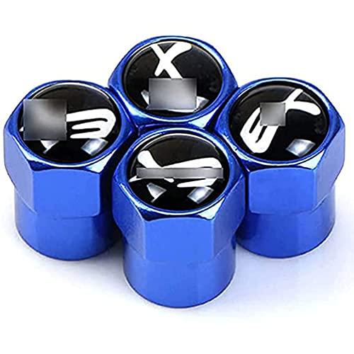 AXYP 4pcs Car Tapas para válvulas, para Mitsubishi EX 2007-2018 Valve Caps Neumático Impermeable Herrumbre Anti-Polvo Antirrobo con Logo, Coche Interior Estilo Accesorios