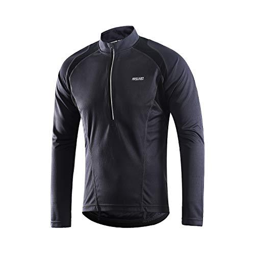 ARSUXEO Men's Half Zipper Cycling Jerseys Long Sleeves MTB Bike Shirts 6031 Gray Size Medium