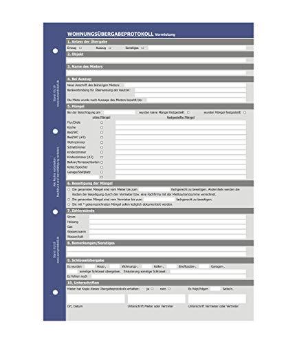Wohnungsübergabeprotokoll Vermietung, Übergabeprotokoll, selbstdurchschreibend (SD-Satz, 3-fach)