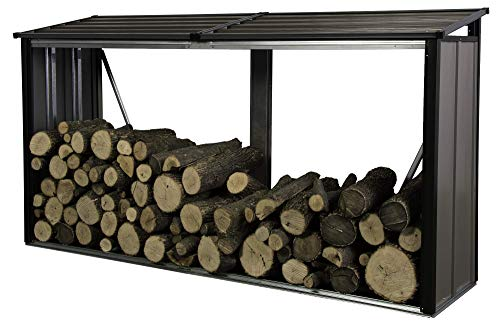 Arrow Compact Galvanized Steel Metal Firewood Rack, Mocha