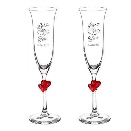 Casa Vivente Geschenkset zur Hochzeit – Sektgläser und große Schatztruhe mit Gravur – Motiv Herzen – Personalisiert mit Namen und Datum – Hochzeitsgeschenke für Brautpaar - 4
