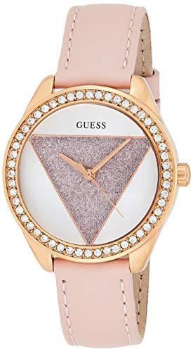 Guess Damen Analog Quarz Uhr mit Leder Armband W0884L6