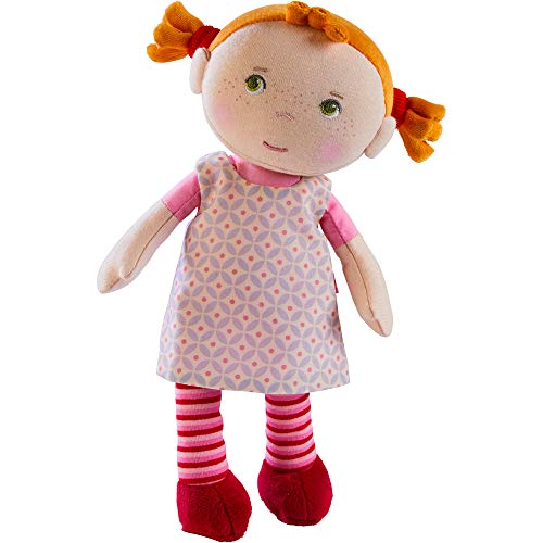 "HABA Snug Up Roya - 10"" Soft Doll with Fuzzy Red Pigtails, Embroidered Face and Removable Pink Dress (Machine Washable) for Ages 18 Months +"