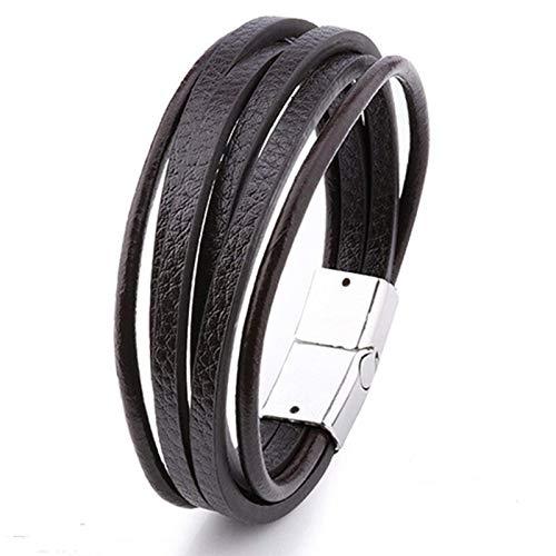 Mega_JumbleSale Men's Braided Multi-layer Leather Bracelet with Magnetic Clasp | Men Fashion Charm Bracelet Bangle Wristband Rope Cuff Vintage Bracelets Wrap (Brown)
