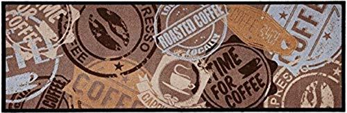 """Küchenläufer / Küchenmatte / Dekoläufer für Küche und Bar / Teppich / Läüfer / Läufer / waschbare Küchenläufer / Küchendeko Modell ,,COOK & WASH braun mit Stempel - Time for Coffee - - Coffee """" Größe ca. 50 x 150 cm / Maschinen waschbar auf 30 grad"""