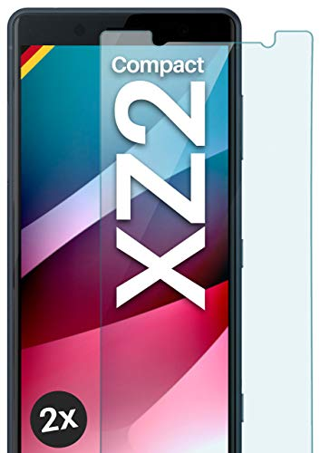 moex Panzerglas kompatibel mit Sony Xperia XZ2 Compact - Schutzfolie aus Glas, bruchsichere Displayschutz Folie, Crystal Clear Panzerglasfolie, 2X Stück