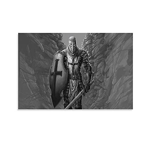 Lienzo con diseño de espada y escudo de caballero cruzado, 40 x 60 cm