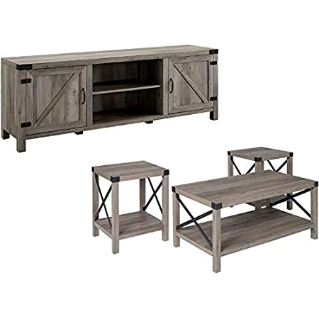 Amazon Com Home Square 4 Piece Farmhouse Barn Door Tv Stand Console Coffee Table And 2 End Table Living Room Set In Rustic Gray Oak Furniture Decor