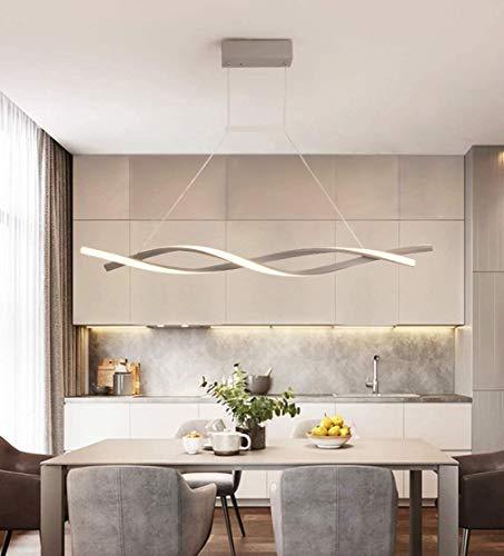 Pendelleuchte Esstisch, LED Modern Hängelampe Geschwungenes Design Lampe Metal Acryl Deckenbeleuchtung Schlafzimmerlampe Wohnraumlampe Küchelampe Decorlampe Dimmbar mit Fernbedienung (Grau, L120cm)