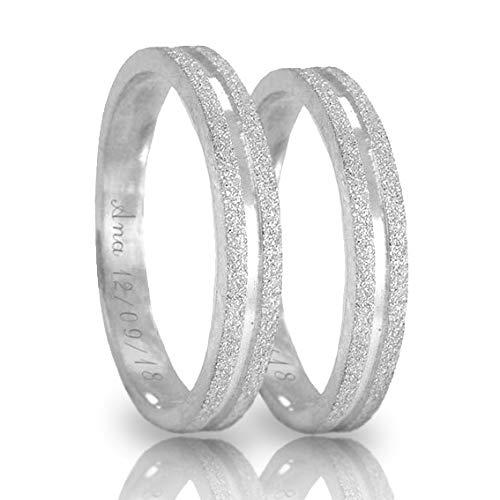 Alianças de Compromisso Prata 950 4mm Diamantadas Graváveis Preenchidas com Prata