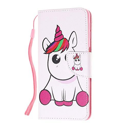 Sunrive Hülle Für Xiaomi Redmi 4A, Magnetisch Schaltfläche Ledertasche Schutzhülle Etui Leder Hülle Cover Handyhülle Tasche Schalen Lederhülle MEHRWEG(W6 Einhorn)
