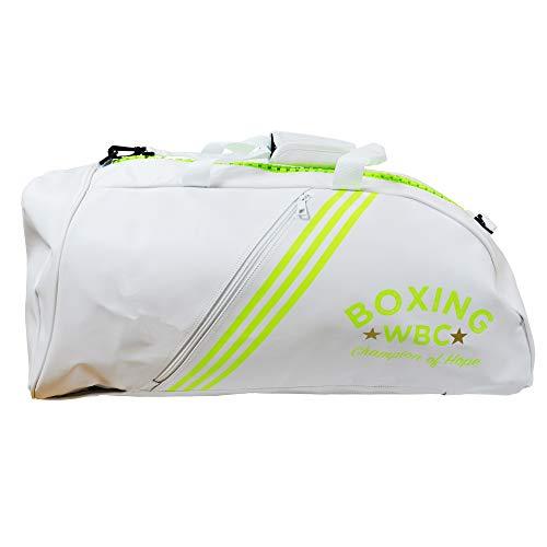 adidas PU 2 In 1 WBC Boxing Gym Training Sports Back Pack Holdall Bag Bolsa de Deporte para Boxeo, Blanco, Talla única