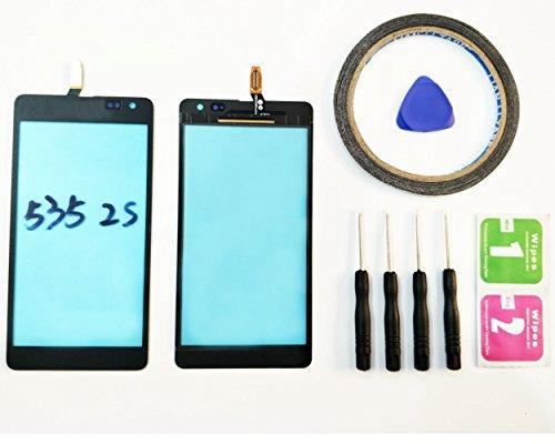 JRLinco Für Microsoft Nokia Lumia 535 N535 ( Ver: CT2S 1973FPC-A1-E ) Outer Glas Lens Touch Panel Bildschirm Touchscreen Ersatzteil( Ohne LCD ) Für schwarz + Werkzeuge & doppelseitigen Kleber