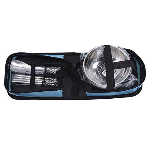 SUNSKYOO Camping Geschirrset, langlebiges tragbares Besteckset aus Edelstahl für Büro, Picknick im Freien,Blau,Einzelanzug