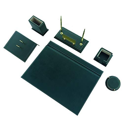 Calme-N - Juego de 8 protectores de escritorio (49 x 34 cm, piel sintética), color negro y verde