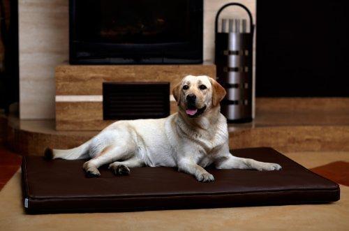 tierlando Carlos Ortho-Medic Orthopädische Hundematte Kunstleder Visko Hundebett Matratze Größe: XL - 120x90cm - CA5 | Farbe: 01 braun