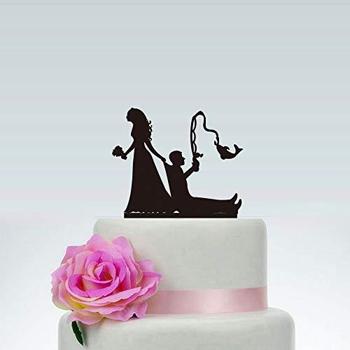 PotteLove Tortenaufsatz für Hochzeitstorten, Angel-Stil, Brautpaar und Bräutigam, Mr & Mrs, Acryl, Holz