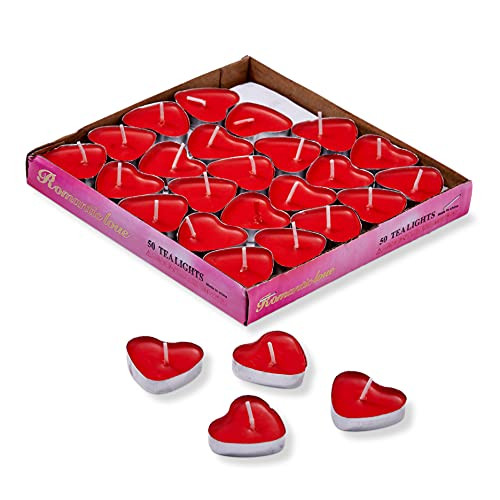 THE TWIDDLERS 50 Candele Tealight Amore Cuore Rosso, 3,8cm - Senza Fumo