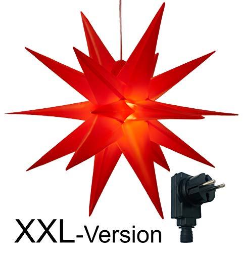 XXL Ø 100 cm 3D Leuchtstern mit warm-weißer LED Beleuchtung und Timer / für Innen und Außen geeignet (IP44) / hängend / 7,5 m Zuleitung (rot)