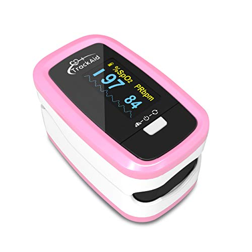 TrackAid Premium Pulse Oximeter Fingertip, Blood Oxygen Saturation and Pulse Rate Monitor with Plethysmograph, OLED Display
