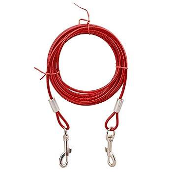 GFEU Attache pour Chien, Corde de câble, 3 m, Plomb Robuste, chaîne pour Chien, pour Chiens (Rouge)