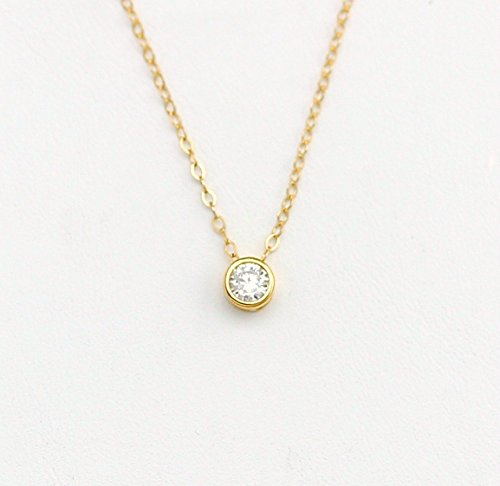 Dainty Tiny Cubic Zirconia Necklace, CZ Diamond Necklace/Simple Layering Necklace, Minimalist Jewelry Layered Necklace Gold or Silver