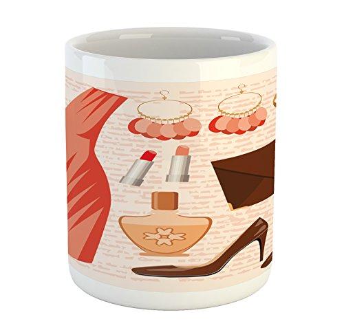 Ambesonne Heels and Dresses Mug, Accessories Fashion Cocktail Dress Lipstick Earrings High Heels, Ceramic Coffee Mug Cup for Water Tea Drinks, 11 oz, Salmon Brown