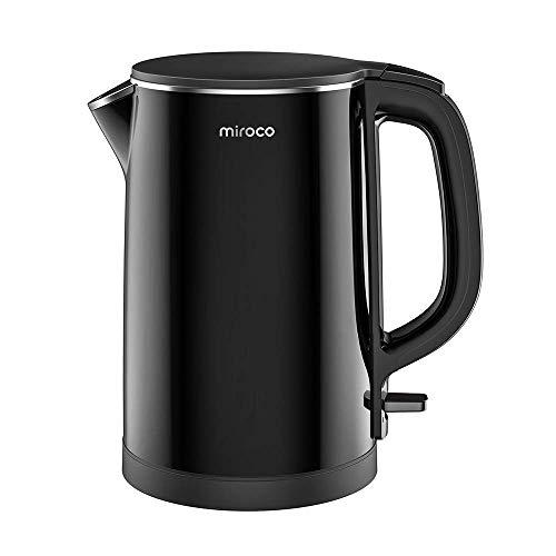Miroco Wasserkocher, Elektrischer Wasserkessel 1,5L Edelstahl Teekessel 2150W Elektrische Teekocher, Trockengehschutz, BPA-Frei, Schwarz