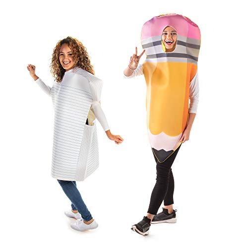 No. 2 Pencil & Paper Halloween Couples' Costumes - Funny Adult One-Size Outfits