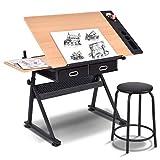 COSTWAY Mesa de Dibujo para Arte Diseño Ángulo y Altura Ajustable Escritorio para Oficina con Cajón Silla