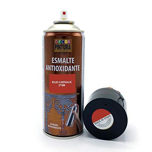 Pintura Spray Rojo Carruaje 400ml ANTIOXIDANTE para metal / anti oxido para metales, hierro, aluminio, acero / Para exteriores - interior aplicación sin imprimacion