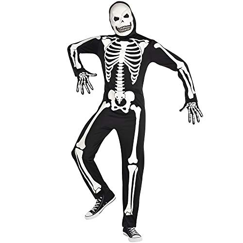 Party City Glow in The Dark X-Ray Skeleton Halloween Costume for Adults, Standard, Includes Jumpsuit, Mask and Gloves