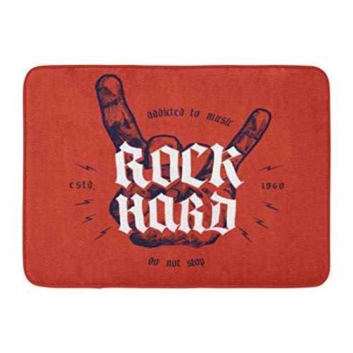 Amanda Walter Felpudo Alfombra de baño Música Rock Mano Dura Medieval Rollo de Letras Metal Tatuaje Antiguo Marca Baño Decoración Alfombra Alfombra de baño 15.7 'X 23.5' MAT-4327
