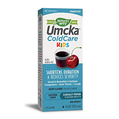 Nature's Way Umcka ColdCare Kids Cherry Syrup, For Cough | Congestion | Sore Throat, Clinically Proven, 4 FL Ounce (Packaging May Vary)