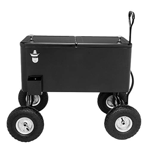 """VINGLI 80 Quart Wagon Rolling Cooler Ice Chest, w/Long Handle and 10"""" Wheels, Portable Beach Patio Party Bar Cold Drink Beverage , Outdoor Park Cart on Wheels (Black-Wagon)"""