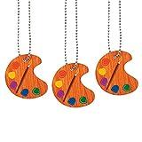 Fun Express Artist Paint Palette Necklaces - Paint Birthday Party Favors for Kids - Art Party Supplies - 12 pc