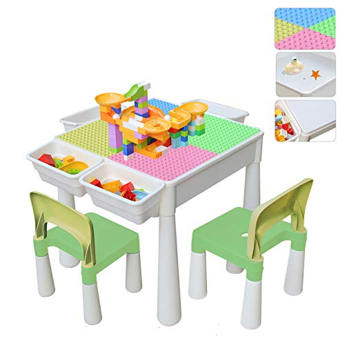 67i Kids Activity Table and 2 Chairs Set 3-in-1 Multi Activity Table...
