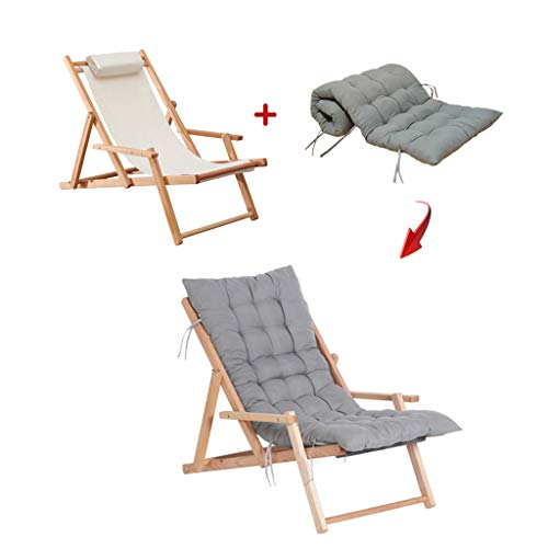 Sedia reclinabile da giardino pieghevole in legno, sedia a sdraio da spiaggia in legno massello, seduta da viaggio all'aperto con imbottitura in cotone, regolazione multipla per interni ed esterni