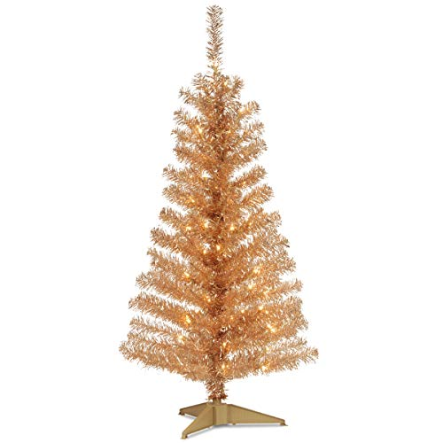 National Tree Company Pre-lit Artificial Christmas Tree | Includes Pre-strung White Lights and Stand | Champagne Tinsel – 4 ft