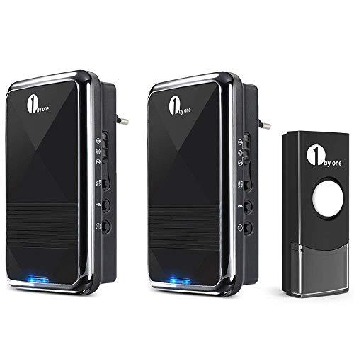 1byone Easy Chime Wireless Doorbell Door Chime Kit, 2 Plug-in Receivers & 1 Push...